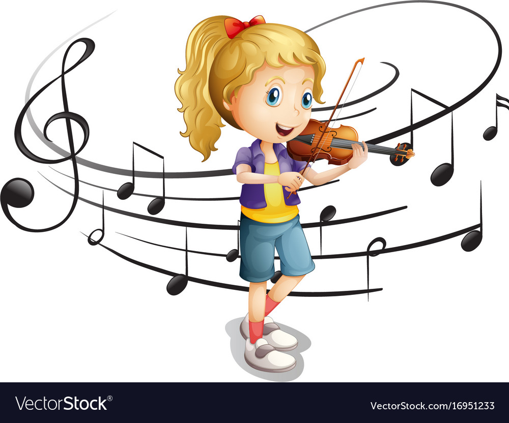 Girl playing the violin clipart banner library Little girl plays violin banner library
