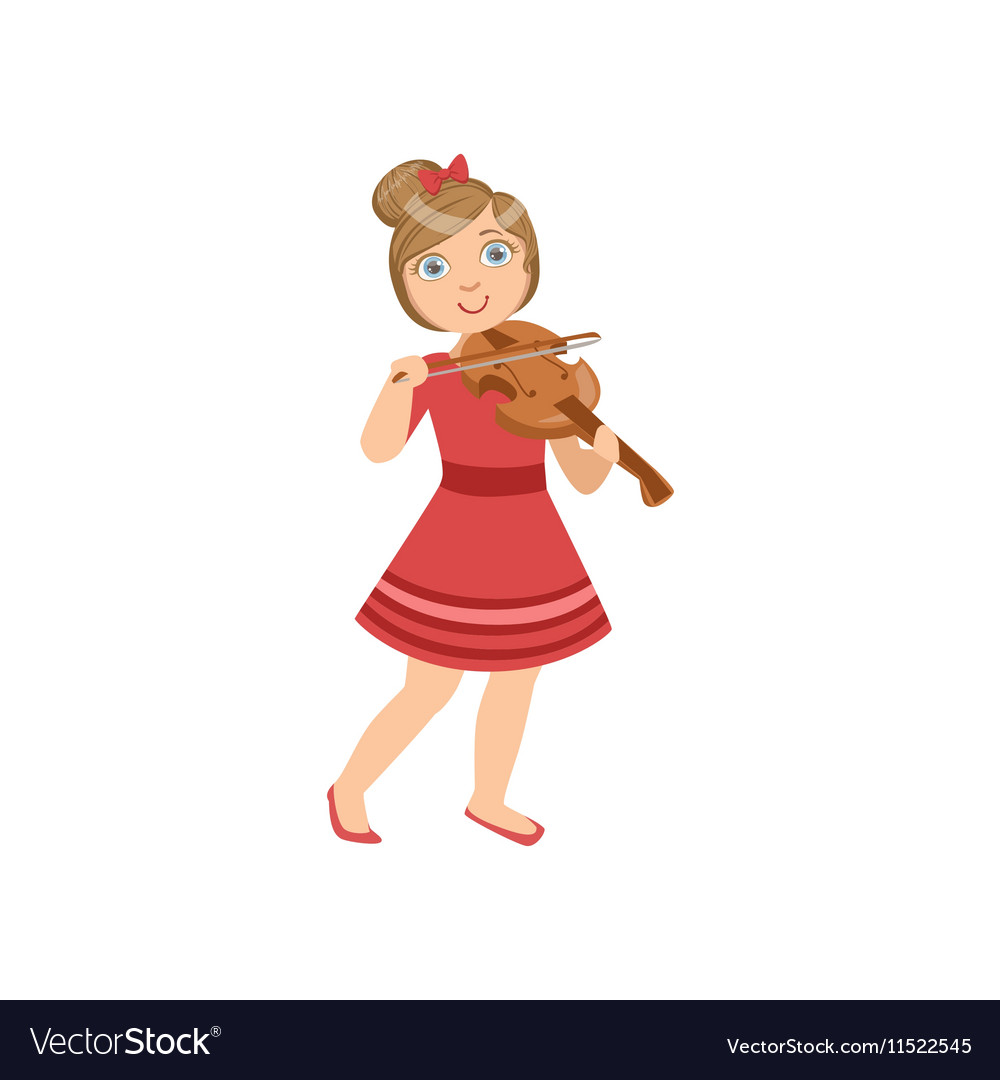 Girl playing the violin clipart svg library stock Girl In Red Dress Playing Violin svg library stock