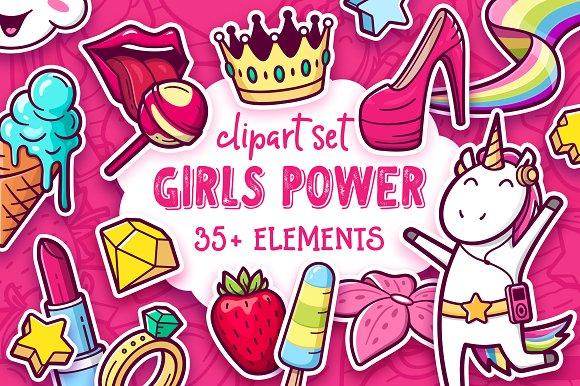 Girl power clipart vector Girls Power. Clipart and pattern set vector