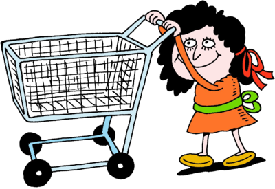 Girl pushing a shopping cart shopping cart clipart clipart free library Image: Woman Pushing Empty Shopping Cart - No matter how empty you ... clipart free library