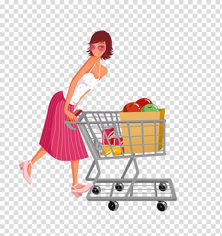 Girl pushing a shopping cart shopping cart clipart clip freeuse library Shopping cart Designer , Woman pushing a shopping cart transparent ... clip freeuse library