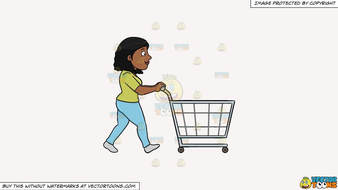 Black and white clipart women shopping at the grocery store clip transparent Clipart: A Black Woman Pushing A Shopping Cart Inside The Supermarket on a  Solid White Smoke F7F4F3 Background clip transparent