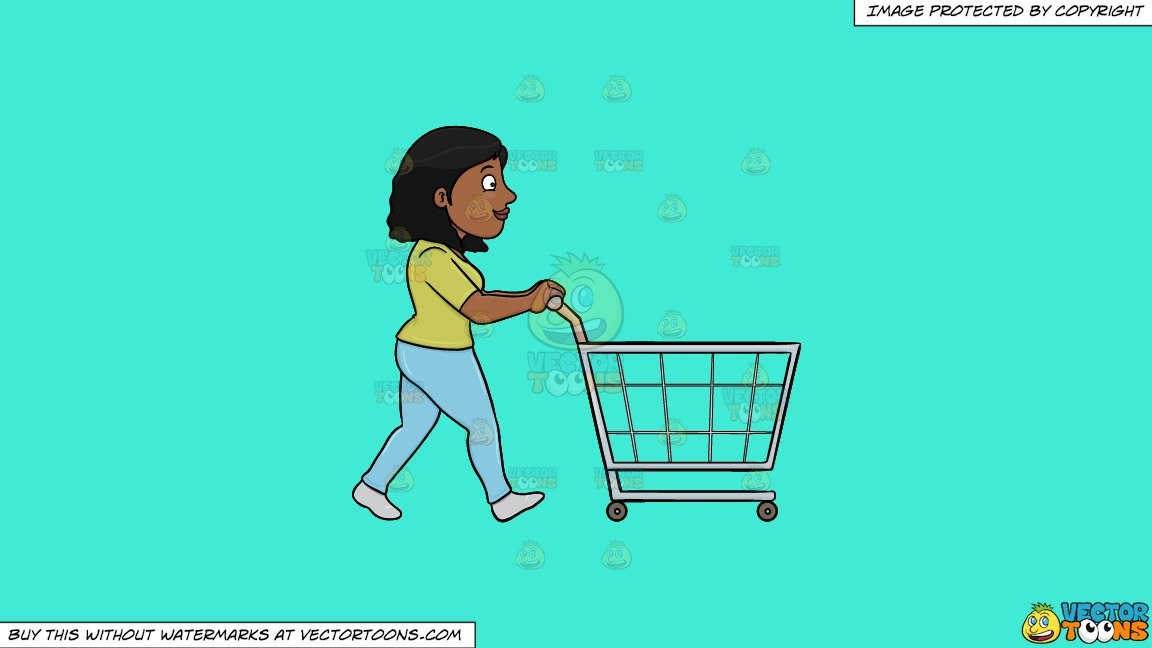 Girl pushing a shopping cart shopping cart clipart picture free download Clipart: A Black Woman Pushing A Shopping Cart Inside The Supermarket on a  Solid Turquiose 41Ead4 Background picture free download