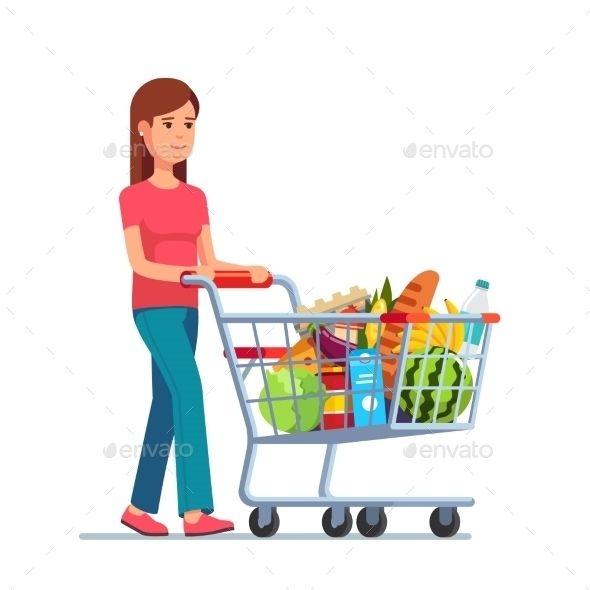 Girl pushing a shopping cart shopping cart clipart clip black and white library Young Woman Pushing Supermarket Shopping Cart | Happy Planner in ... clip black and white library