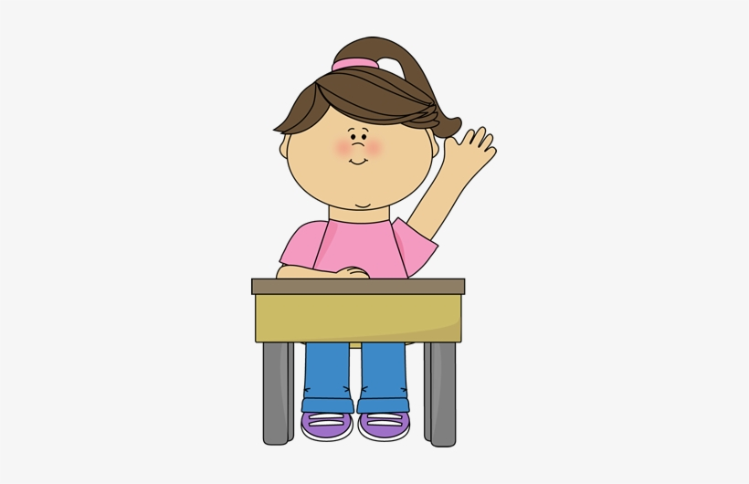 Girl raising hand in school silhouette clipart