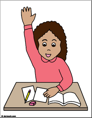 Kid scared raise hand school clipart jpg free Clipart Girl Raising Hand jpg free