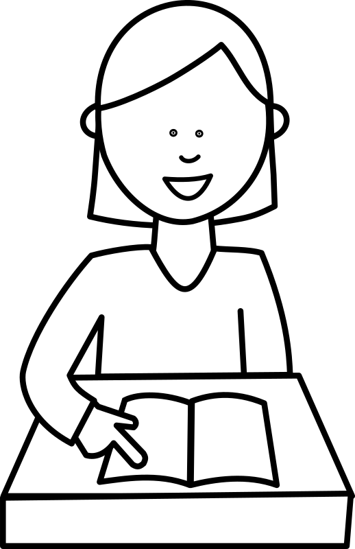 Girl reading book clipart black and white graphic transparent download Clipart - Élève lisant / Student reading graphic transparent download