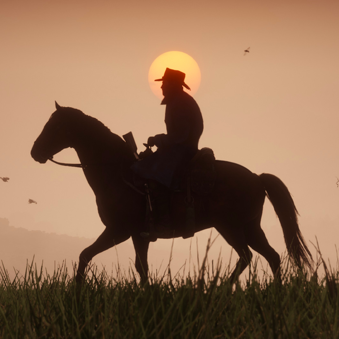 Girl riding a horse in the distance clipart banner black and white stock Red Dead Redemption 2 has a cursed road on Rhodes that always sets ... banner black and white stock