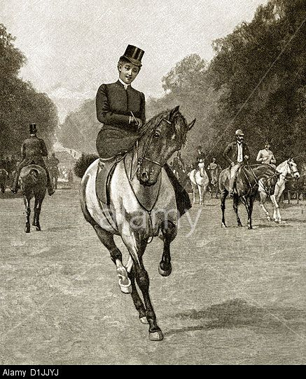 Girl riding a horse in the distance clipart clip library download 19th century, a young woman riding a horse on a side-saddle in an ... clip library download
