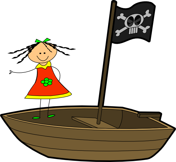 Row your boat clipart image black and white Sailing Girl Clip Art at Clker.com - vector clip art online ... image black and white