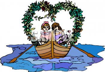Girl row boat clipart svg black and white library Valentine Clip Art of Two Vintage Girls in a Rowboat on the Sea ... svg black and white library