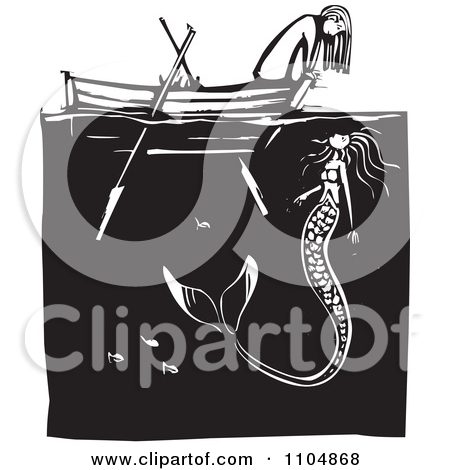Girl row boat clipart graphic free stock Clipart Girl Looking At A Mermaid Over The Front Of A Row Boat ... graphic free stock