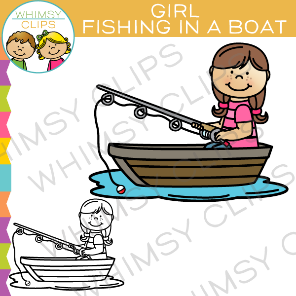 Girl row boat clipart picture black and white stock Woman fishing in a boat catching fish clipart - ClipartFest picture black and white stock