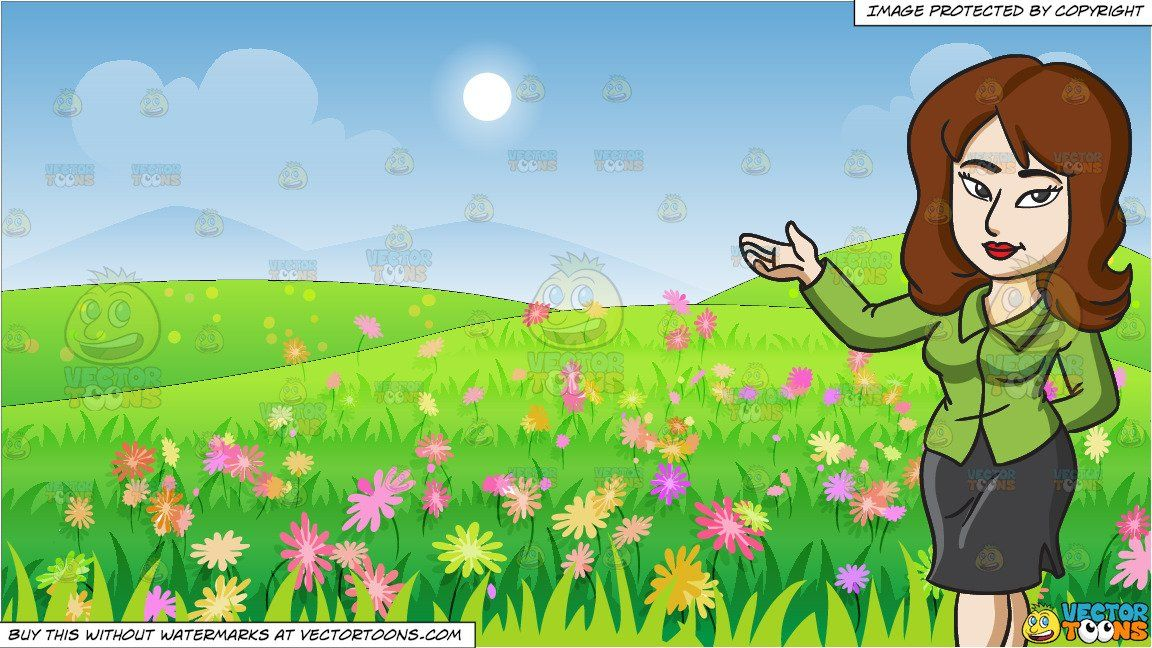 Girl running through a field of flowers clipart graphic stock clipart #cartoon A Japanese Woman Doing A Presentation and A ... graphic stock