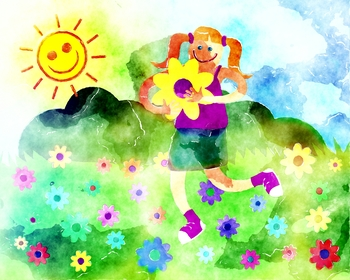 Girl running through a field of flowers clipart svg freeuse download Happy Flower Girl Clipart Illustration svg freeuse download