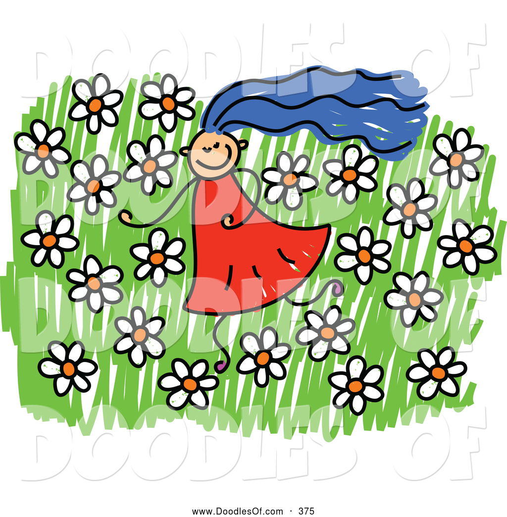 Girl running through a field of flowers clipart clip free stock Vector Clipart of a Girl in a Field of Daisies and Flowers by Prawny ... clip free stock