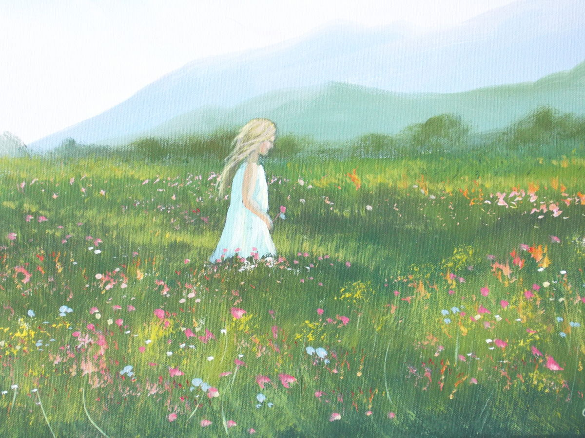 Girl running through a field of flowers clipart clip art freeuse library Painting Of Girl In A Field at PaintingValley.com | Explore ... clip art freeuse library