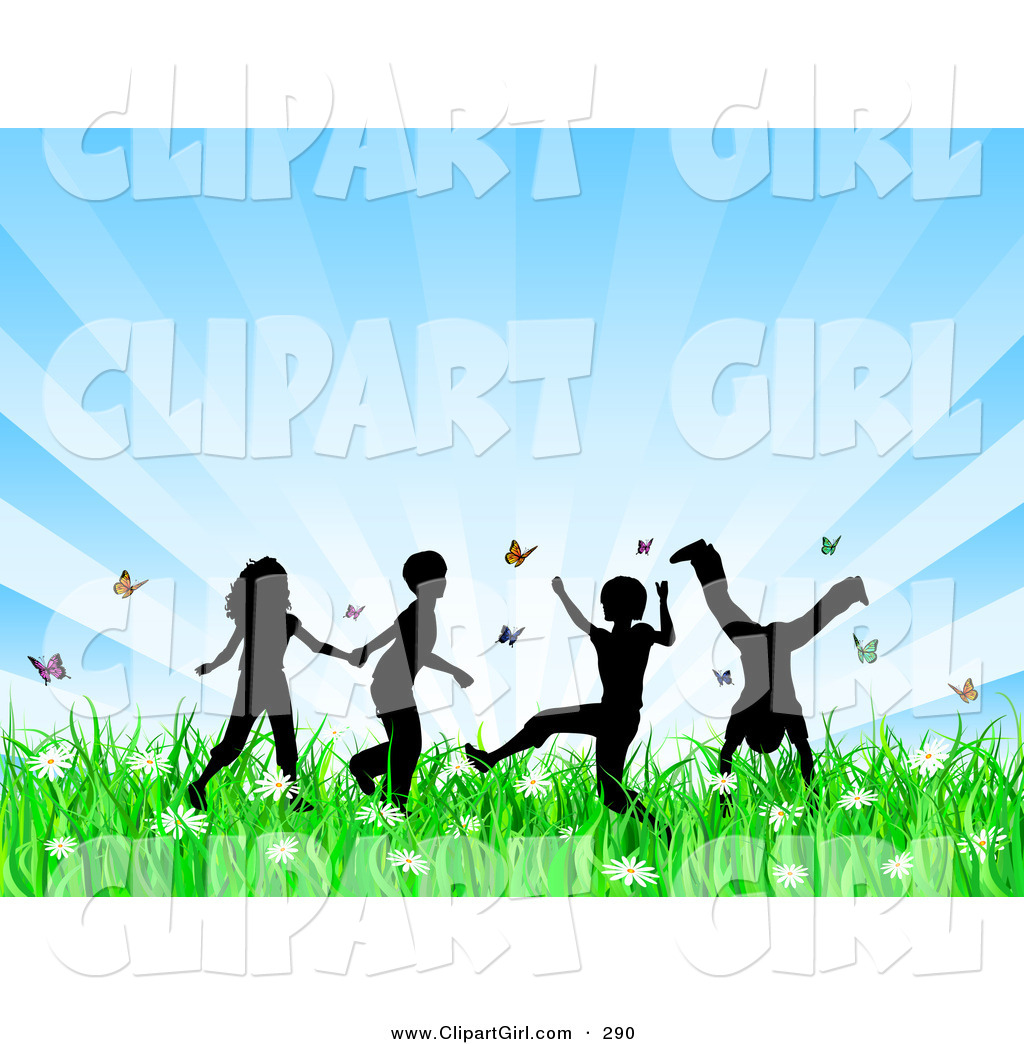 Girl running through a field of flowers clipart clip art library library Clip Art of a Group of 4 Silhouetted Children Running, Holding Hands ... clip art library library