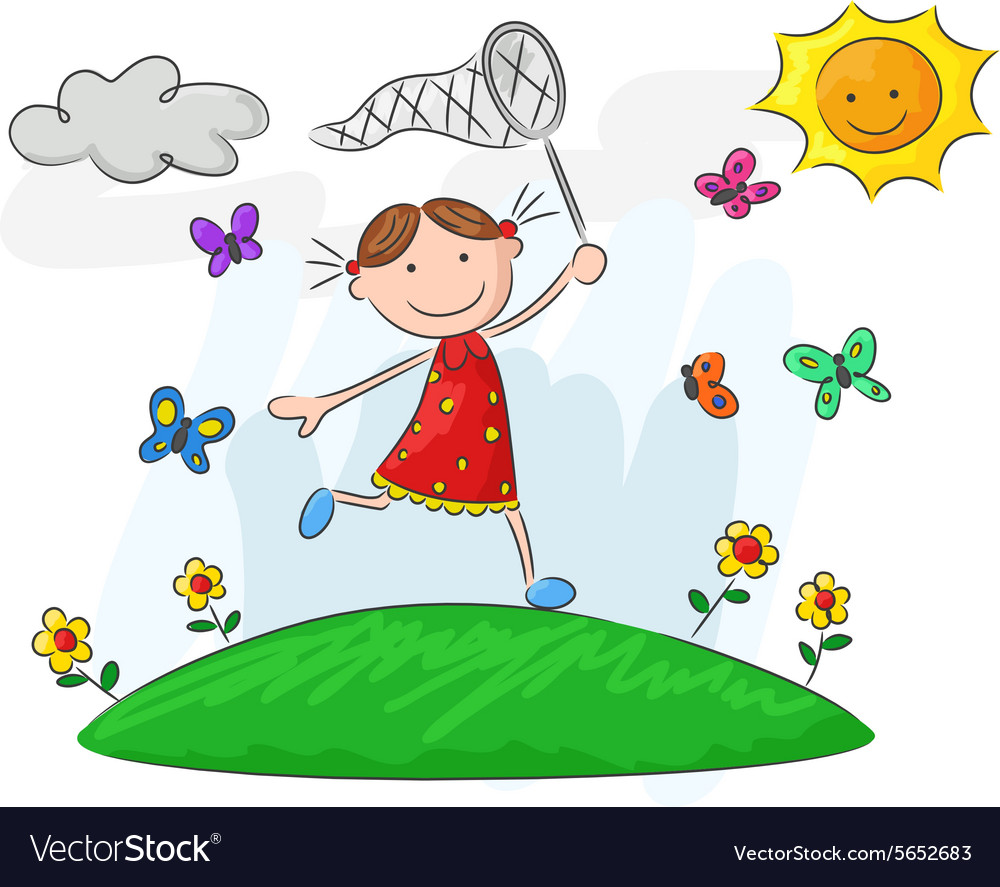 Girl running through a field of flowers clipart image freeuse stock Happy little girl running on flower field image freeuse stock