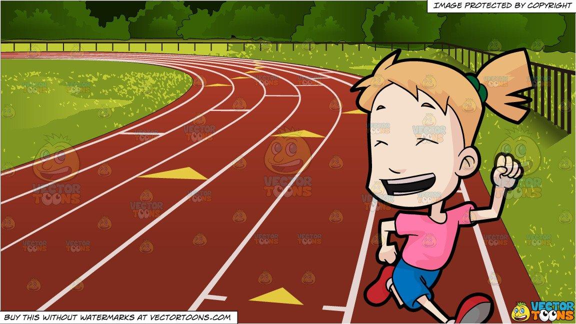 Girl running track clipart jpg freeuse download A Girl Running With Joy and Outdoor Running Track Background jpg freeuse download