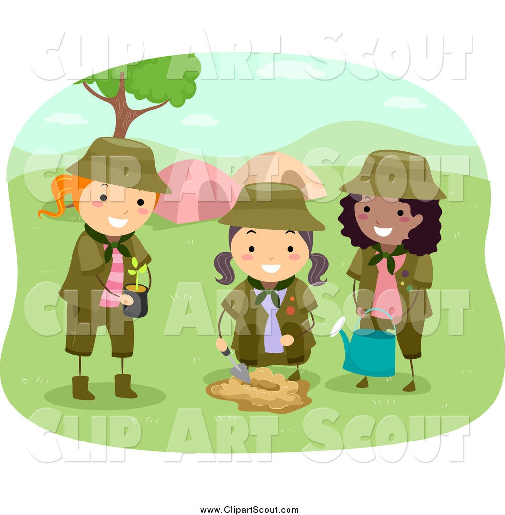 Girl scout campfire clipart jpg Clipart of Girl Scouts Planting a Tree by a Camp Site by BNP Design ... jpg