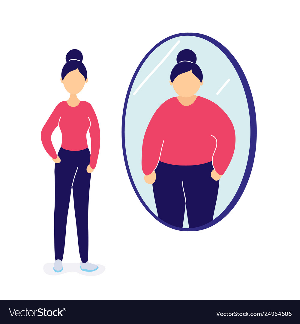 Women looking at herself in the mirror clipart png black and white Slim woman seeing herself fat in mirror png black and white