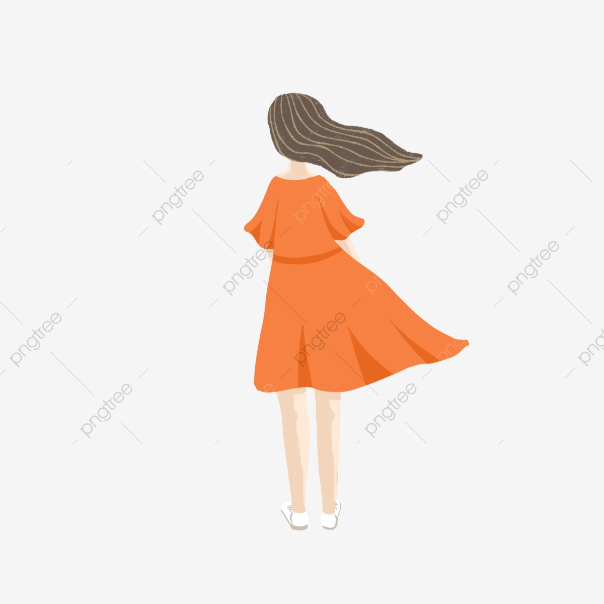 Back View Of Cartoon Girl In Orange Long Dress And Hair, Float ... vector free library
