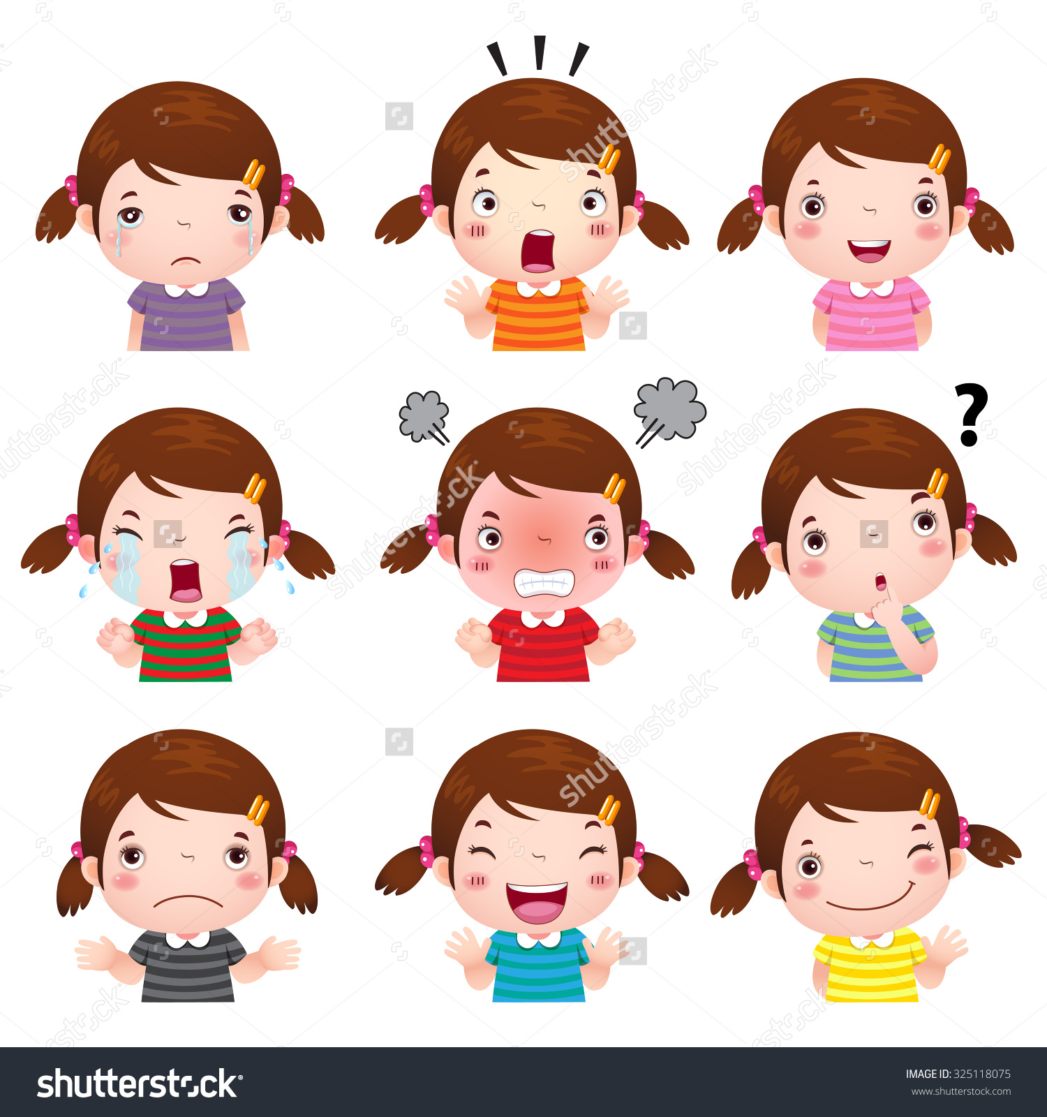 Girl showing id clipart graphic black and white library Illustration Cute Girl Faces Showing Different Stock Vector ... graphic black and white library