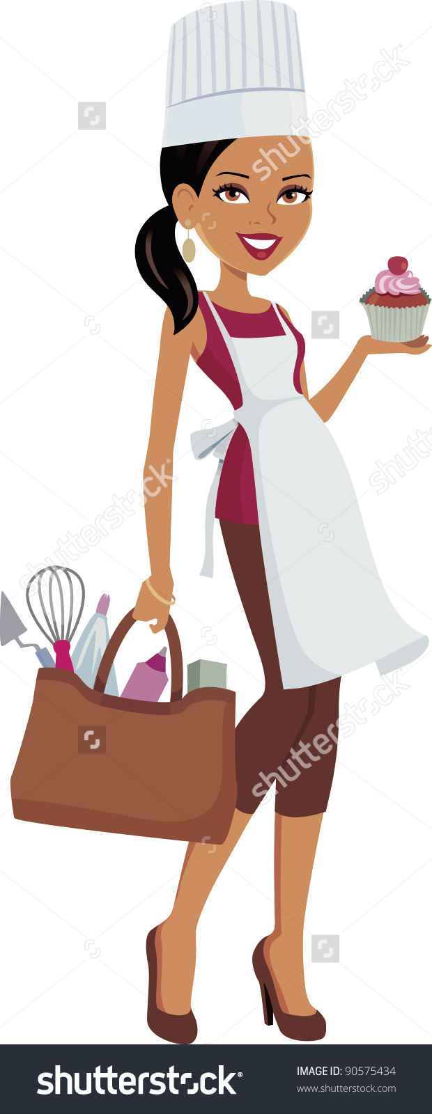 Girl showing id clipart picture library library Girl Dark Skin Wearing Chef Hat Stock Vector 90575434 - Shutterstock picture library library