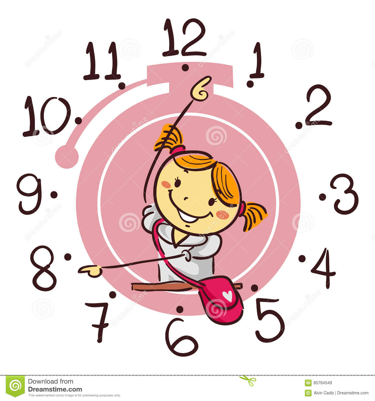 Girl showing id clipart jpg free Stick Kid Girl Showing Using Her Arm As Hand Clock Pointing 8 O ... jpg free
