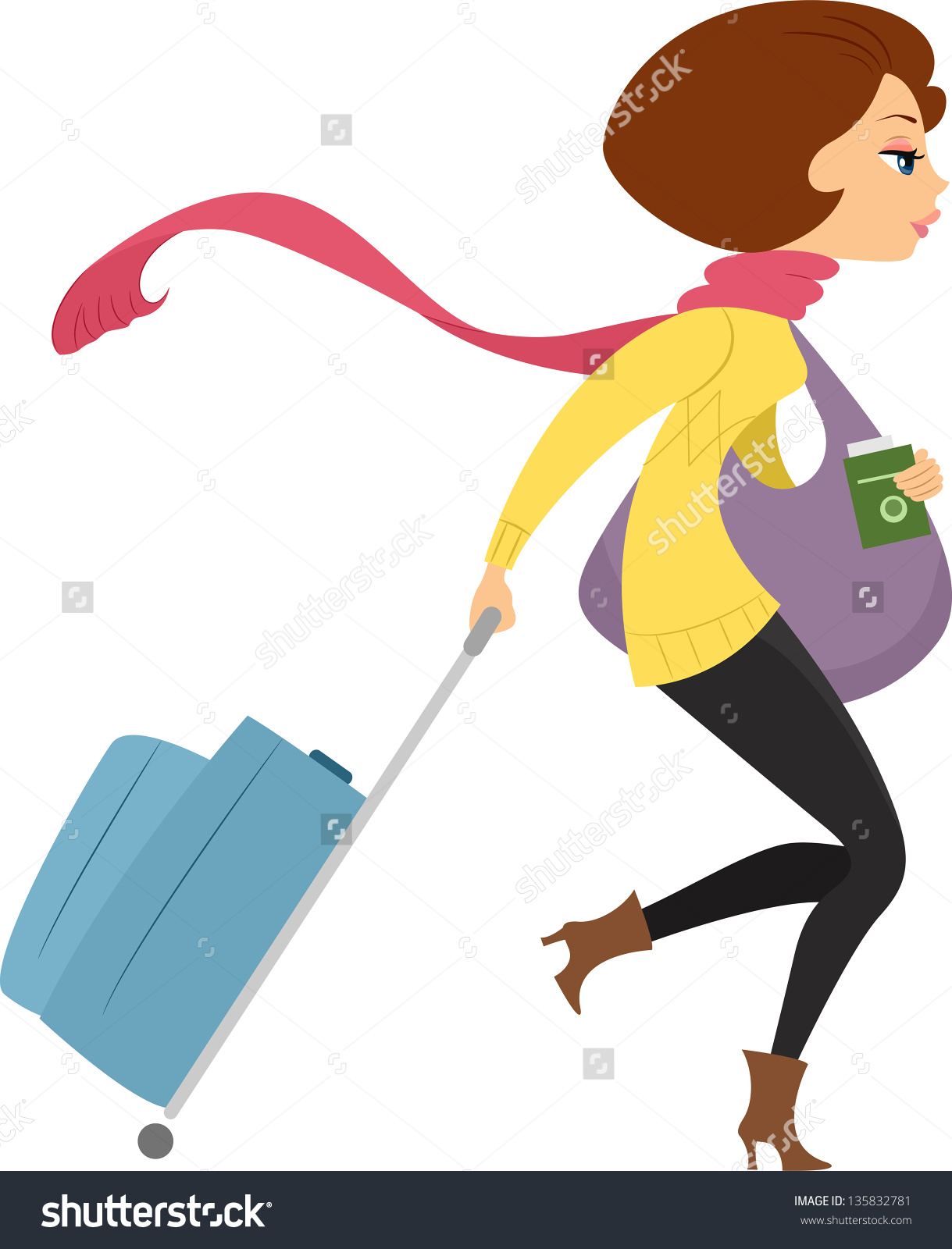 Girl showing id clipart clip art transparent download Illustration Showing Sideview Of A Girl Traveling On Winter ... clip art transparent download