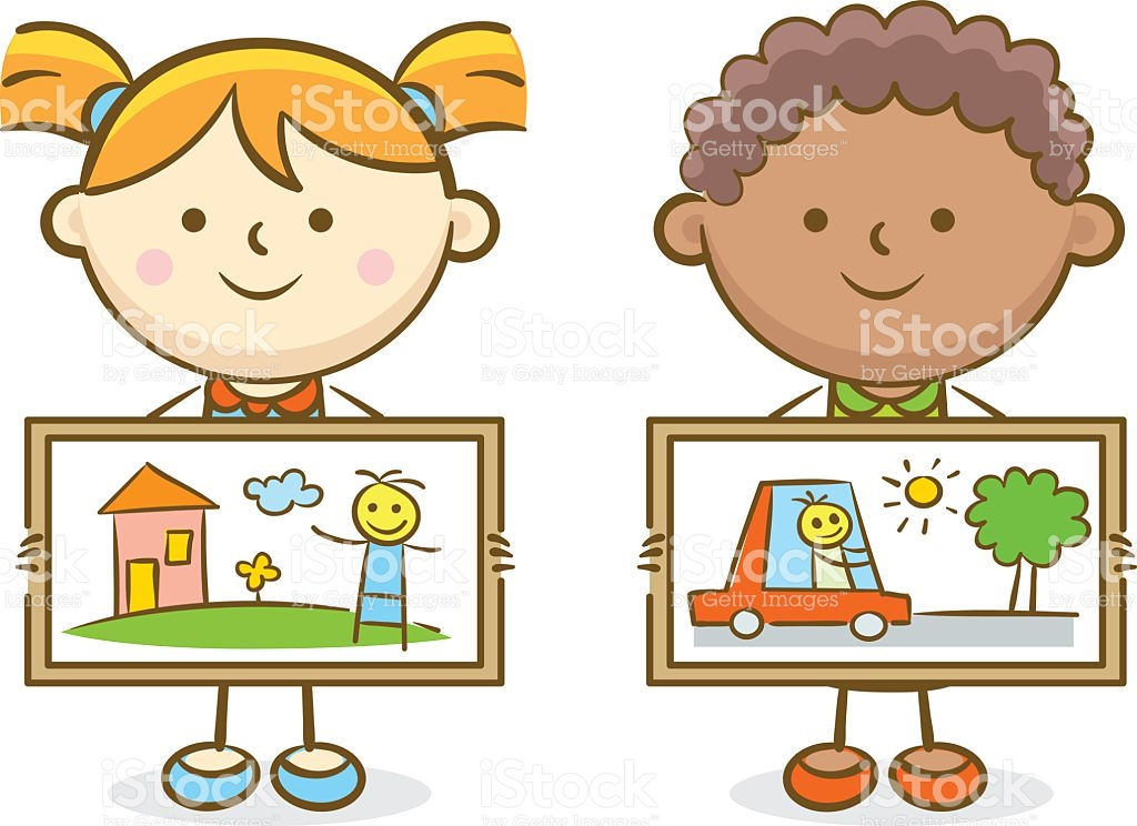 Girl showing id clipart svg stock Boy And Girl Showing Painting Arts stock vector art 523856872 | iStock svg stock
