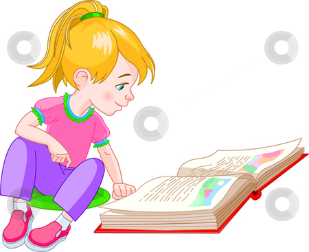 Girl sitting next to a girl clipart graphic royalty free library Book girl stock vector graphic royalty free library