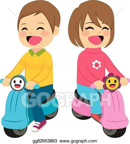 Girl sitting on back motor cycle clipart clipart library download Vector Illustration - Boy and girl with motorcycle. EPS Clipart ... clipart library download