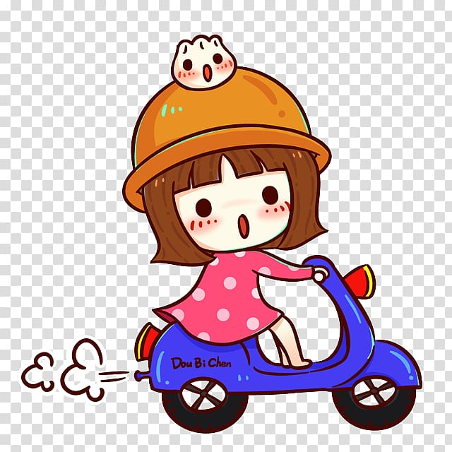 Girl sitting on back motor cycle clipart clipart freeuse library Girl riding motor scooter illustration, Scooter Motorcycle Cartoon ... clipart freeuse library