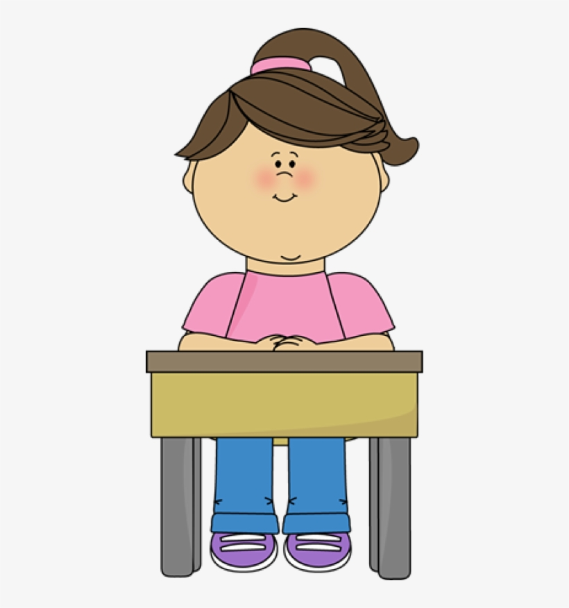 Girl sitting on chair clipart clip black and white download Student Sitting At Desk Gir - Girl Sitting In Chair Clipart PNG ... clip black and white download