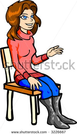 Image of a girl in bed on the chair clipart