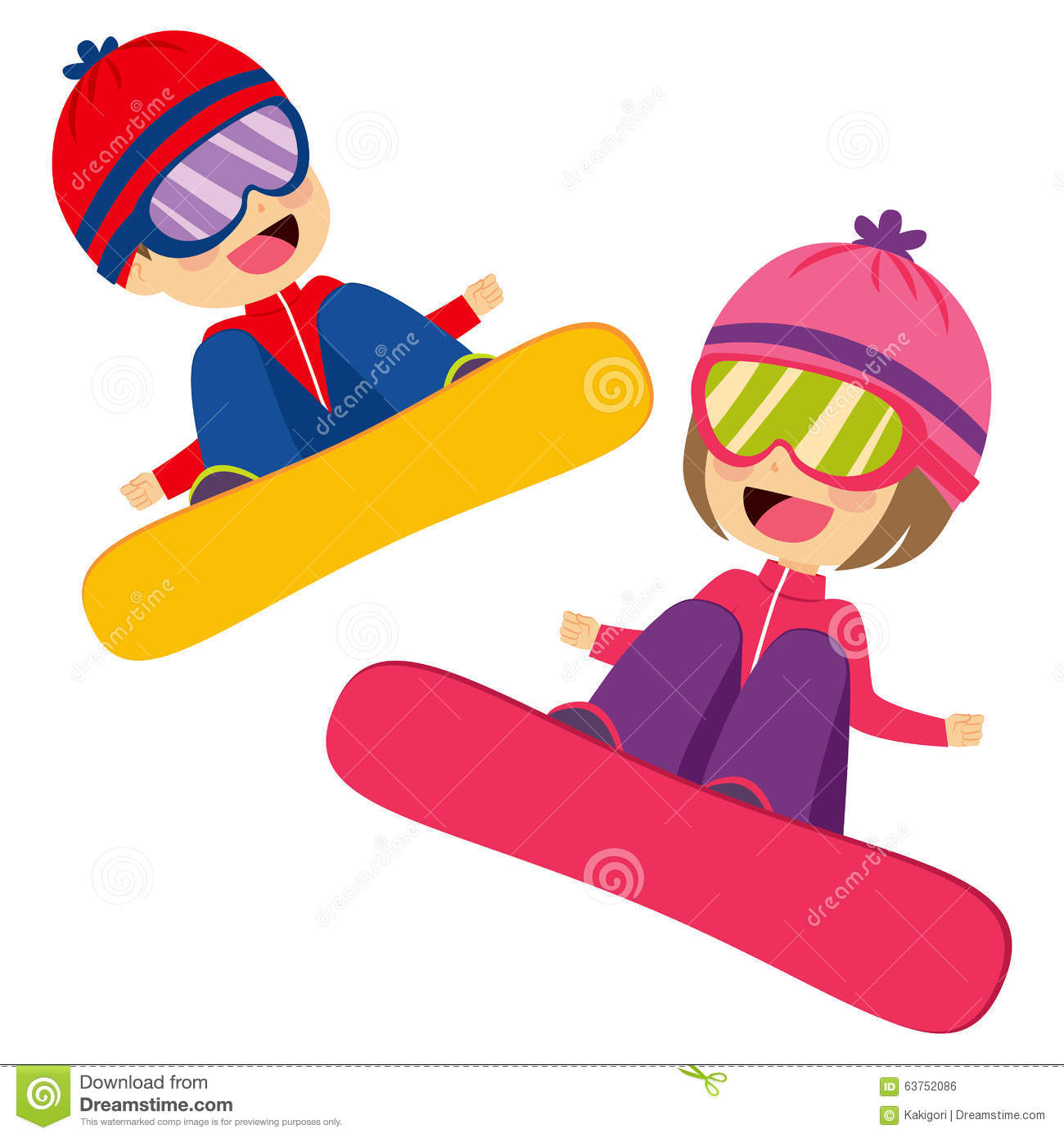 Girl snowboarding clipart picture transparent download Kids Flying Snowboarding - 1390*1300 - Free Clipart Download ... picture transparent download