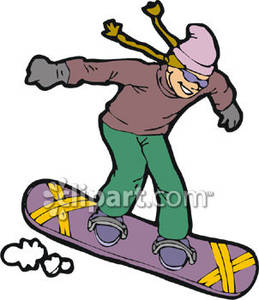 Girl snowboarding clipart vector transparent Girl on a Snowboard Royalty Free Clipart Picture vector transparent