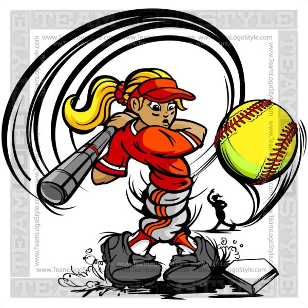 Girl softball clipart png free download Girls Softball Clipart Vector Cartoon - Vector cartoon hitter png free download