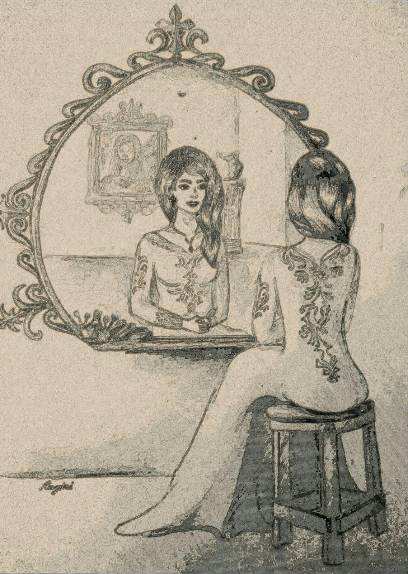 Girl staring at her own reflection clipart svg stock Pencil sketch, own imagination,mirror reflection drawing etc ... svg stock