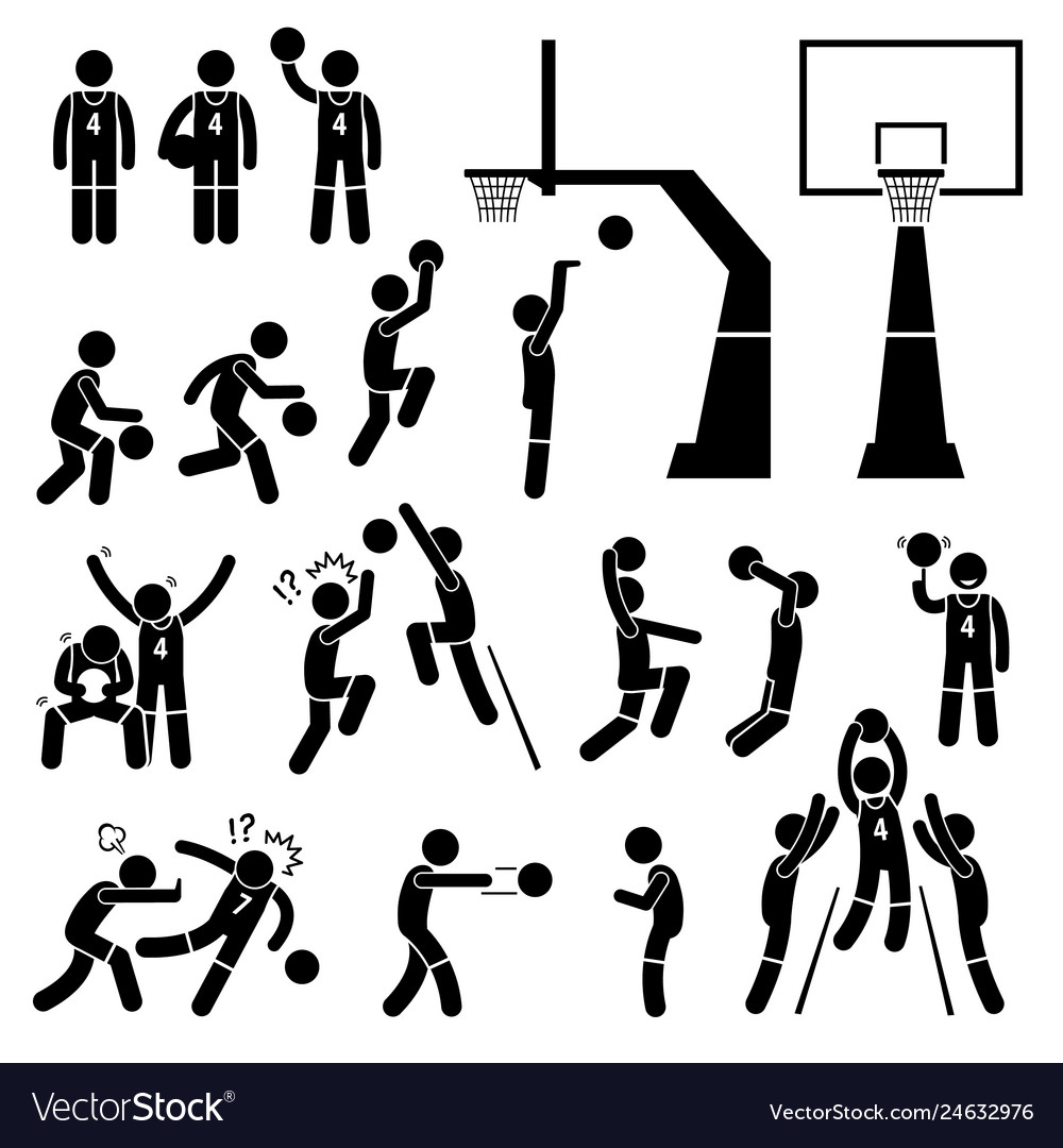 Girl stick figure basketball clipart clip library library Basketball player action poses stick figure clip library library