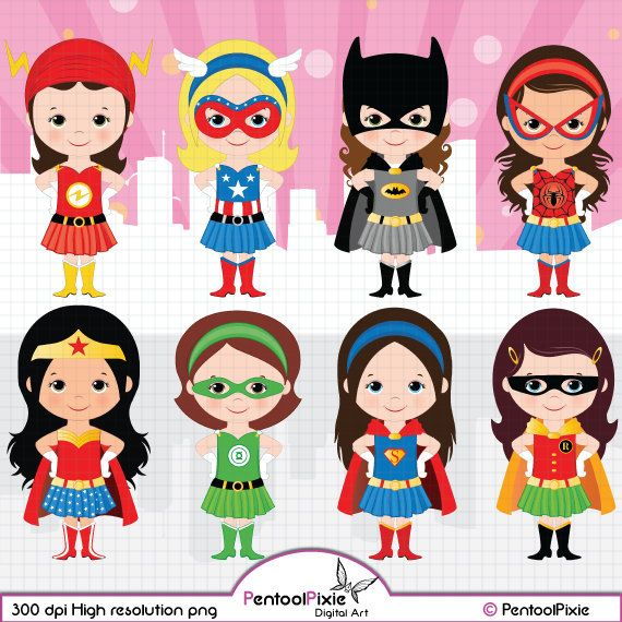 Girl superheroes clipart svg freeuse stock Superhero girls clipart Girl power clipart by PentoolPixie on Etsy ... svg freeuse stock