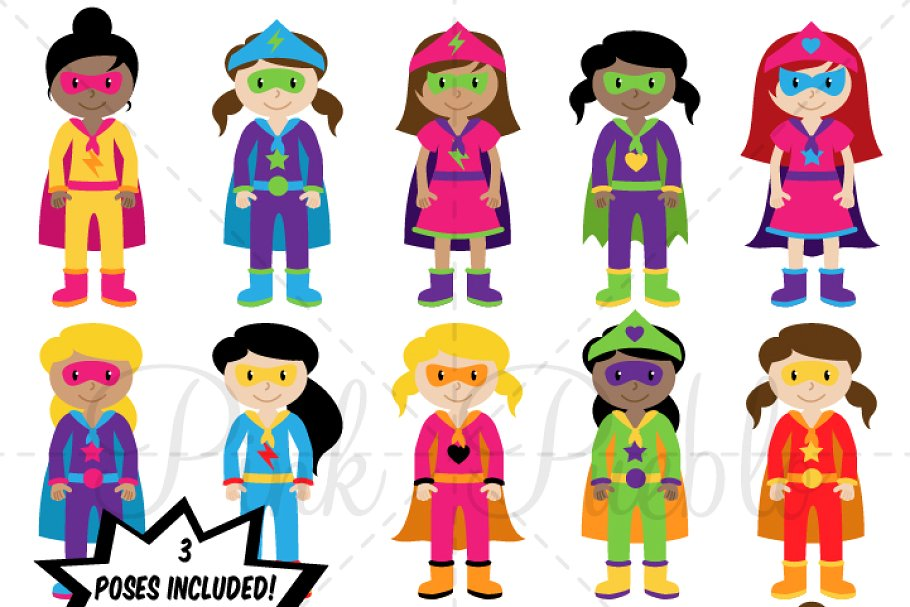 Girl superheroes clipart svg transparent download Girl Superhero Clipart & Vectors ~ Illustrations ~ Creative Market svg transparent download