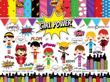 Girl superheroes clipart png stock Girl Power superhero clipart and digital paper pack   Meylah png stock