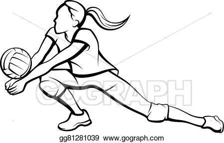 Girl volleyball player clipart picture black and white download Vector Art - Volleyball dig girl. EPS clipart gg81281039 - GoGraph picture black and white download