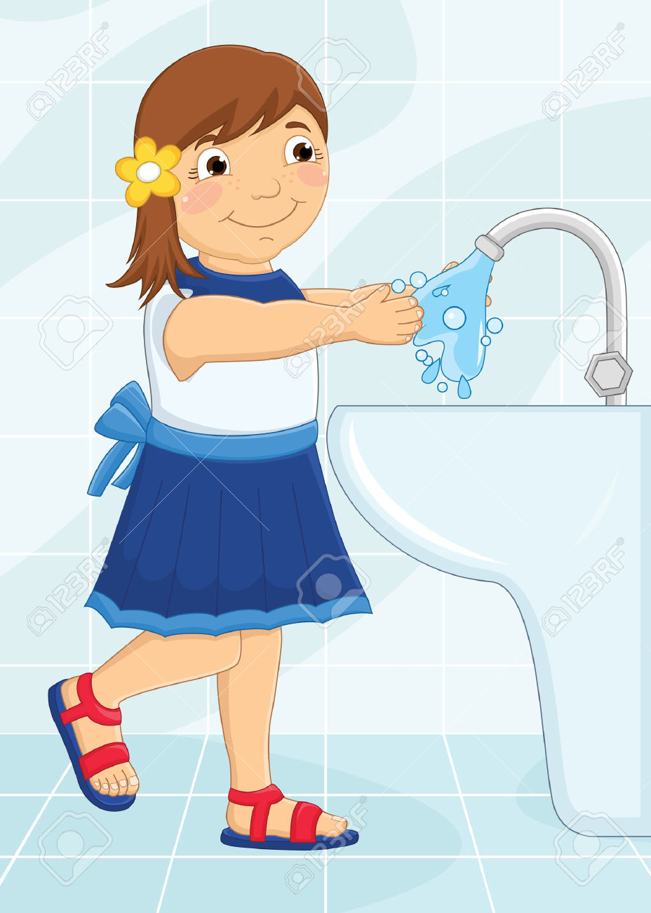 Girl washing hands clipart banner freeuse stock Girl Washing Hands Illustration Royalty Free Cliparts, Vectors ... banner freeuse stock