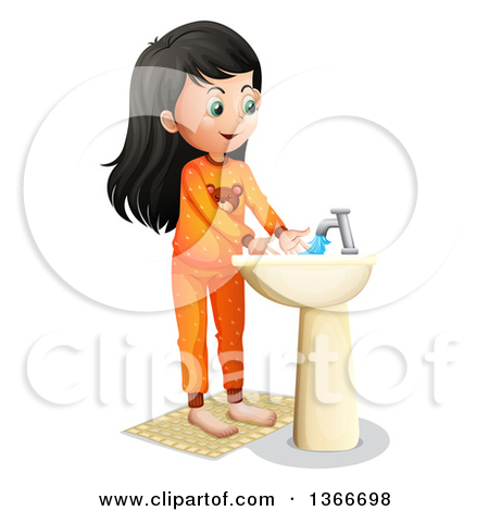 Girl washing hands clipart picture royalty free stock Cartoon Of A Happy Girl Washing Her Hands In A Sink - Royalty Free ... picture royalty free stock