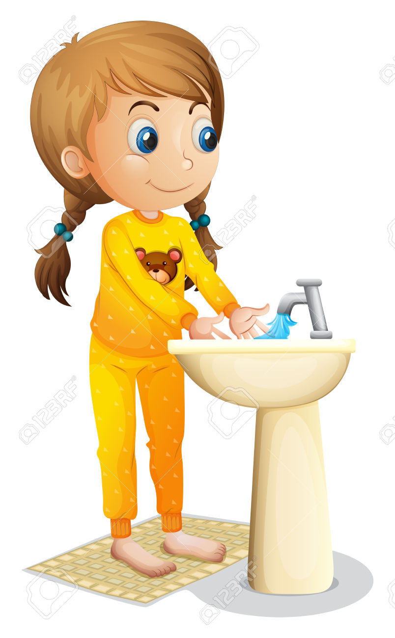 Girl washing hands clipart jpg library stock Illustration Of A Cute Young Girl Washing Her Hands On A White ... jpg library stock