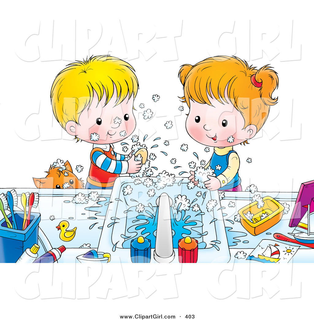Girl washing hands clipart png free library Clip Art of a Happy Brother and Sister Making a Mess While Washing ... png free library